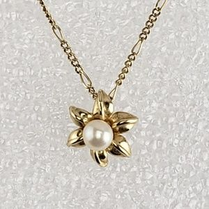 Necklace 14kt Gold Flower IPS Pearl Pendant